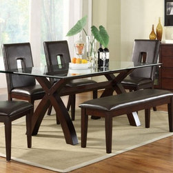 Poundex Furniture - 6 Piece Dining Room Set - F2175/F1169/F1134-6SET - Set Includes  Dining Table, 4 Side Chairs And  Bench
