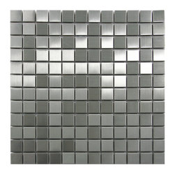 CNK Tile - Stainless Steel Mosaic Tile 1x1, Sqft - Our heavy duty stainless steel mosaic tiles are made with a heavy porcelain base, double A grade stainless steel with a mesh backing for easy installation. These stainless steel tiles are great for vertical surfaces such as a backsplash for a stove top in the kitchen. Unsanded grout is required for the installation for stainless steel tiles.