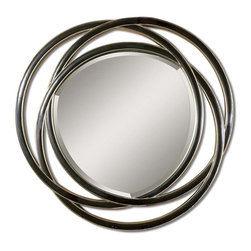 Uttermost - Odalis Entwined Circles Black Mirror - You needn't go round in circles searching out the perfect accent piece for your walls. This amply beveled mirror sits among entwined rings to make a sophisticated statement in your favorite setting.
