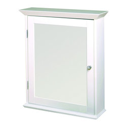 Zenith - Zenith WW2026 Classic White Swing Door Medicine Cabinet - Zenith WW2026 Classic White Swing Door Medicine CabinetThis elegant furniture style cabinet has a beveled mirror, crown detail top and bottom and decorative hardware. Zenith WW2026 Classic White Swing Door Medicine Cabinet, Features:&#149 22 in. W cabinet is ideal for small bathrooms with limited wall space