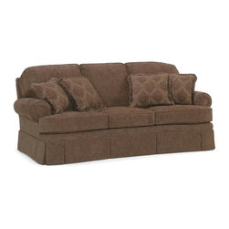 Fairfield Chair Company - Semi-Attached Back Sofa w Cushion (Fabric: Sa - Fabric: Fabric: SageLoose seat. Standard ultra plush cushion. Standard with two 18 in. throw pillows. Nails available on arm panels only. Curved base. Made from hardwood and fabric. Seat Height: 21 in.. Arm Height: 26 in.. Seat Depth: 19.5 - 21 in.. Inside Width: 70 in.. Overall: 92 in. L x 42 in. W x 40 in. H