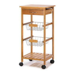 Zingz & Thingz - Kitchen Cart - Features: -Sleek tower silhouette containing a solid bamboo top, utensil drawer, two baskets and a bamboo shelf.-Perfect fusion of fashion and function.-Complements any gourmet kitchen.-Distressed: No.Dimensions: -Dimensions: 30'' H x 14.3'' W x 14.13'' D.-Overall Product Weight: 10 lbs.