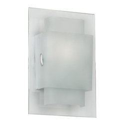 Contemporary Duplex Frosted Glass Chrome Wall Sconce -