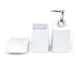 Gedy - Verbena White Pottery Bathroom Accessory Set - Stylish, trendy bathroom accessory set which includes toothbrush holder, soap dispenser, and soap dish.