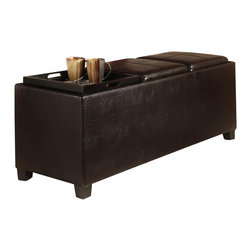 Convenience Concepts - Tribeca Ottoman with Three Tray Tops in Espre - Solid wood frames for strength. PVC fabric for durability and easy cleaning. Three tops flip to painted MDF serving trays. Stitching detail on ottoman tops. Foam padding. Limited warranty. No assembly required. 52 in. L x 18 in. W x 18 in. H (37 lbs.)