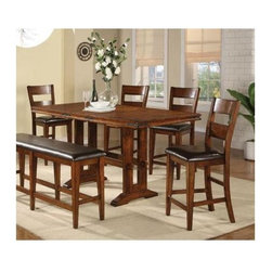 Winners Only - Mango 5-Pc Counter Height Table Set - Includes trestle table and four barstools. Bench not included. Upholstered seat stool. Table with one 18 in. leaf. Barstool: 19 in. W x 23 in. D x 43 in. H. Table minimum: 60 in. W x 36 in. D x 36 in. H. Table maximum: 78 in. W x 36 in. D x 36 in. H