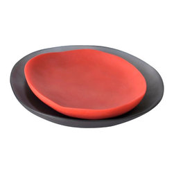 Tina Frey Designs - Small Round Plate, Signal Red - Modern designs in resin. Tina Frey Designs is a collection of home accessories, useful objects and jewelry by San Francisco-based designer Tina Frey. Her design aesthetic ranges from organic shapes to sleek clean lines, with a wide range of colors inspired by hues of translucent popsicles, jelly beans, solid candies, or reminiscent of rich finishes like stone. All the products are designed, or sculpted, by Tina Frey. Her pieces are truly handmade, and hand finished with care. Tina's hand in each piece ensures the quality and integrity of her designs.
