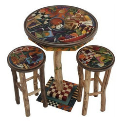 "Sarah Grant / Sticks Furniture - Sticks Furniture Hand Crafted in Iowa - Round Bar Height Table - This 40"" bar height table makes an eye catching statement whether you choose to use it in your breakfast nook or in your game room. It is hand carved and hand painted with fruits, cheeses, wines, breads, and geometric patterns for a unique look! Shown with two bar height stools (sold separately) that complete the group."