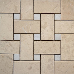 Scabos Tile - Beige Polished Marble Basket Weave Mosaic - Beige - White Polished Marble Basket Weave Mosaic Tile