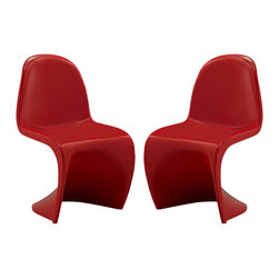 Modway - Modway EEI-1252 Slither Kids Chair Set of 2 in Red - Einstein may have shown that space was curved, but this chair gave tangible expression to the idea. Now over forty years since the Slither chair was first molded, budding scientists can rediscover the cosmos with this clean and durable playroom chair!