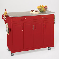 Home Styles Create-a-Cart Red Kitchen Cart with Stainless Steel Top - With a stainless steel top and added touches, such as a spice rack, this pop of red will be a welcome work surface in the kitchen.