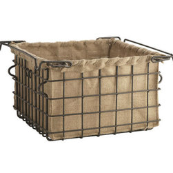 Sturdy Iron Lined Basket, Medium - This great industrial-looking basket is softened by the pretty jute lining. I can see it in a kitchen holding fruit or tea towels.