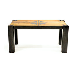 The Rutland Table - The Rutland Table brings together the best of organic and industrial, blending reclaimed Chestnut milled from old barn beams to add historic warmth to a simple, contemporary steel frame. Optional decorative Xs adorn the legs and 4″ adjustable feet keep everything on the level. Bring this look to your home on a large scale with a dining table version with or without steel inlays.  Available in custom sizes.  Steel Color shown is Black Veil/Light Pewter.  Please call 406-582-0711 for pricing and ordering information, or email us at sales@brandnerdesign.com.