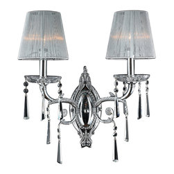 """Worldwide Lighting - Orleans 2-Light Chrome Finish Crystal Wall Sconce with White String Shade 15"""" W - This stunning 2-light wall sconce only uses the best quality material and workmanship ensuring a beautiful heirloom quality piece. Featuring a radiant chrome finish and finely cut premium grade clear crystals with a lead content of 30%, this elegant wall sconce will give any room sparkle and glamour."""