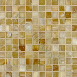 "Glass Tile Oasis - Light Caramel 1"" x 1"" Bronze/Copper Pool Frosted Glass - Sheet size:  12 5/8"" x 12 5/8""     Tile Size:  1"" x 1""     Tiles per sheet:  144     Tile thickness:  1/4""     Recycled Components:   20%      Sheet Mount:  Paper Face      Sold by the sheet    -  Brilliant glass combed through with coordinating colors and available in 14 mouth-watering colors  in both Iridescent and Frost finishes.Waterfall tiles are hand-poured and will have a certain amount of variation and variegation of color  tone  shade and size. Additionally  you will notice creases  wrinkles  shivers  waves  bubbles topped off with a natural surface to catch all forms of light for a brilliant effect. These characteristics of natural glass and only serve to enhance the final beauty of the installation."