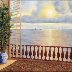 The Tile Mural Store (USA) - Tile Mural - Dr - Ocean Villa - Kitchen Backsplash Ideas - This beautiful artwork by Diane Romanello has been digitally reproduced for tiles and depicts a view of the bay from a balcony.  Beach scene tile murals are great as part of your kitchen backsplash tile project or your tub and shower surround bathroom tile project. Waterview images on tiles such as tiles with beach scenes and sunset scenes on tiles.  Tropical tile scenes add a unique element to your tiling project and are a great kitchen backsplash  or bathroom idea. Use one or two of our beach scene tile murals for a wall tile project in any room in your home for your wall tile project.