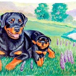 Caroline's Treasures - Rottweiler Fabric Standard Pillowcase Moisture Wicking Material - Standard White on back with artwork on the front of the pillowcase, 20.5 in w x 30 in. Nice jersy knit Moisture wicking material that wicks the moisture away from the head like a sports fabric (similar to Nike or Under Armour), breathable performance fabric makes for a nice sleeping experience and shows quality.  Wash cold and dry medium.  Fabric even gets softer as you wash it.  No ironing required.