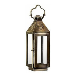 "Fez Star Punched Metal Lantern, Small, Bronze finish - Hung from branches or garden stakes, multiples of our lanterns mimic a starry sky. Small: 4.75"" wide x 4.5"" deep x 13"" high Medium:7.5"" wide x 7"" deep x 22"" high Large: 10"" wide x 9.5"" deep x 30"" high Made of stainless steel with a bronze finish. Glass panes."