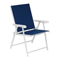 Pride Family Brands Inc. - Blue Sling Folding Chair (Set of 2) - These brightly colored chairs will add a fresh, vibrant look to your outdoor decor. Chairs have durable steel frames and weather resistant fabric, and fold for easy storage.