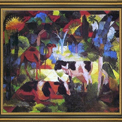 """Art MegaMart - August Macke Landscape Cows Camel - 20"""" x 25"""" August Macke Landscape with Cows and Camel framed premium canvas print reproduced to meet museum quality standards. Our Museum quality canvas prints are produced using high-precision print technology for a more accurate reproduction printed on high quality canvas with fade-resistant, archival inks. Our progressive business model allows us to offer works of art to you at the best wholesale pricing, significantly less than art gallery prices, affordable to all. This artwork is hand stretched onto wooden stretcher bars, then mounted into our 3 3/4"""" wide gold finish frame with black panel by one of our expert framers. Our framed canvas print comes with hardware, ready to hang on your wall.  We present a comprehensive collection of exceptional canvas art reproductions by August Macke."""