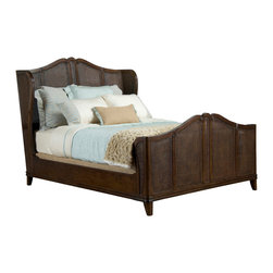 Kathy Kuo Home - Avery Casual Cottage French Caned Rich Brown Finish King Bed - There's no time like bedtime, if you've got this gorgeous  French Country style bed waiting for you!  Combining excellent craftsmanship with a casual approach, this piece epitomizes the relaxed elegance and natural chic which makes the French and  Provencal styles so irresistible.   So get tucked in and be rest assured by the two year warranty which is provided with this beauty. Also available in vintage ivory. Each bed is made to order, please allow 8-10 weeks lead time.