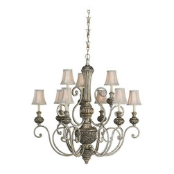 Sea Gull Lighting - Sea Gull Lighting Highlands 31252-824 9-Light Chandelier - 36.5 diam. in. - Pall - Shop for Chandeliers from Hayneedle.com! Pull out the fine china and buff the silver because ordinary dinnerware will never suffice at a table lit by the Sea Gull Lighting Highlands 31252-824 9-Light Chandelier - 36.5 diam. in. - Palladium. Whether hung in your magnificent foyer formal dining room or your fairytale-inspired personal ballroom this grand two-tier chandelier will set the stage for royal entertaining. The gleaming palladium finish accentuates the ornate carved details and graceful curves while the silver silk shantung shades add a touch of sparkle even as they gently diffuse the light from the nine candelabra bulbs (not included). This chandelier is 74.5 inches high overall and is supplied with 12 feet of wire 36 inches of chain and a 7-inch decorative canopy.About Sea Gull LightingSea Gull Lighting prides itself on being experts in outdoor lighting. They specialize in the latest technology lighting techniques available new products and professional design aspects of creating a well-designed lighting plan. As an example of their industry leadership they are at the forefront of lighting legislation and changing electrical codes leading the industry in ENERGY STAR Lighting Dark Sky Lights California's Title 24 and outdoor lighting technology. In fact Seagull Lighting was named ENERGY STAR's Partner of the Year in 2007. Look for continued innovation and the highest quality lighting from Seagull always.