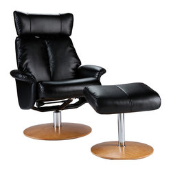 Bennett Leather Recliner and Ottoman, Shimmer Black