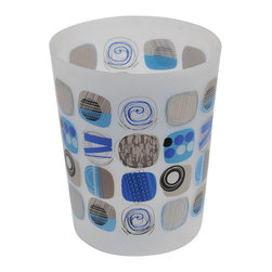 Printed Pp Trash Can Street Art Blue 3-Liter/0.8-Gal - This printed trash can Street Art for bathrooms is in polypropylene. It is opaque with circular patterns. This trash can is a lovely accent for any bathroom with an open top, its capacity is 3-Liter/0.8-Gal. Diameter of 7.68-Inch and height of 9.45-Inch. Wipe clean with a damp cloth. Color blue and grey. Add a fun and modern style to your bathroom decor with this lovely trash can. It's almost too pretty to toss trash into! Complete your Street Art decoration with other products of the same collection. Imported.