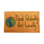 """CocoMatsNMore - CocoMatsNMore Think Globally Design Coco Doormats - 18"""" X 30"""" - Eco-friendly Coco Mat are hand-woven and  made from 100% natural coir . These coco doormats are designed to last for a long time and are easy to maintain and clean by either shaking or hosing it down. Designed with fade-resistant dyes they are durable enough to withstand the harshness of weather and look good througout the year. Furthermore, they keep your house clean by doing a fabulous job of trapping the dirt, mud and debris right at the doorstep."""