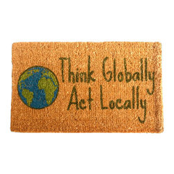 "CocoMatsNMore - CocoMatsNMore Think Globally Design Coco Doormats - 18"" X 30"" - Eco-friendly Coco Mat are hand-woven and  made from 100% natural coir . These coco doormats are designed to last for a long time and are easy to maintain and clean by either shaking or hosing it down. Designed with fade-resistant dyes they are durable enough to withstand the harshness of weather and look good througout the year. Furthermore, they keep your house clean by doing a fabulous job of trapping the dirt, mud and debris right at the doorstep."
