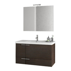 ACF - 39 Inch Wenge Bathroom Vanity Set - Set Includes: Vanity Cabinet (2 Doors,1 Drawer).