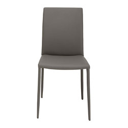 Chintaly Imports - Grey Fully Covered Tapered Leg Side Chair - Fully upholstered side chairs with tapered legs wrapped in grey polyester. Matches the White/Grey Parson Extendable Dining Table, sold seperately.