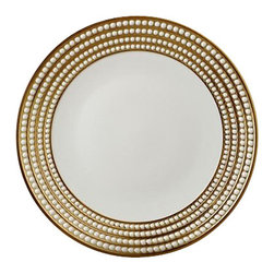 "L'Objet - L'Objet Perlee Gold Charger - Inspired by the timeless elegance and modernity of the pearl. Each piece is hand gilded with three layers ofgold or platinum. an. Limoges Porcelain, Made in Portugal. 3 Layers of 14k Gold or Platinum. Charger: 12"" Diameter. Dishwasher Safe on Delicate Setting. Not Microwave Safe. From L'Objet. L'Objet is best known for using ancient design techniques to create timeless, yet decidedly modern serveware, dishes, home decor and gifts."