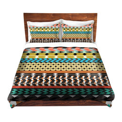 DiaNoche Designs - Duvet Cover Microfiber by Organic Saturation - Desert Aztec Pattern - Super lightweight and extremely soft Premium Microfiber Duvet Cover in sizes Twin, Queen, King.  This duvet is designed to wash upon arrival for maximum softness.   Each duvet starts by looming the fabric and cutting to the size ordered.  The Image is printed and your Duvet Cover is meticulously sewn together with ties in each corner and a hidden zip closure.  All in the USA!!  Poly top with a Cotton Poly underside.  Dye Sublimation printing permanently adheres the ink to the material for long life and durability. Printed top, cream colored bottom, Machine Washable, Product may vary slightly from image.