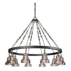 Troy Lighting - Old Silver Menlo Park 10 Light Chandelier with Glass Insulator Shades - A unique industrial look is achieved with the use of glass insulators as shades and tension bars in the support cables.