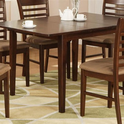 East West Furniture - Milan Rectangular Dining Table w Butterfly Le - Chairs not included. Contemporary design. Made from rubber solid wood. Assembly required. Minimum: 42 in. L x 36 in. W x 29.5 in. H (85 lbs.). Maximum: 54 in. L x 36 in. W x 29.5 in. H (85 lbs.)Rectangular dining table is designed in contemporary style with clean angles and sleek lines.