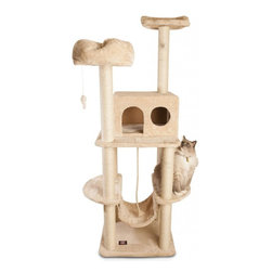 """MAJESTIC PET PRODUCTS - 76"""" Casita Cat Tree - Covered in faux fur, this deluxe cat tower features durable rope-wrapped posts that can handle your cat's tough scratching again and again. Your cat can perch up high or on a cushion, or she can take refuge in a tiny kitty house. A hammock, a rope toy and two dangly mice will keep her busy. Easy for humans to assemble."""