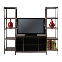 "Winsome Wood - Winsome Wood Hailey 3 Piece TV Stand Shelf Set in Dark Espresso - 3 Piece TV Stand Shelf Set in Dark Espresso belongs to Hailey Collection by Winsome Wood Create a entertainment center with this 3pc modular TV stand and Shelf set. Set comes with one TV Stand and two tower shelves. Made of solid and composite wood in dark espresso finish. TV Stand size 40""L x 18.98""W x 24.02""H. Tower Shelf 15.04""L x 15.04""W x 60.43""H. Assembly Required TV Media Stand (1), Shelf (2)"