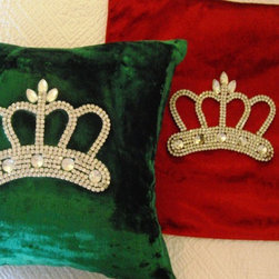 Velvet Crown Pillow - Velvet Rhinestone Crown Pillows add an instant elegant touch to your Holiday Decor! Our favorite find this year!! This lovely decorative crown pillow is quite the feature on a sofa, settee, chair or with a collection of cushy pillows in the queen's boudoir! Emerald Green or Ruby Red Velvet, Measures 12 X 12″, Poly-fill insert.