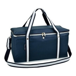 Picnic at Ascot - Large Cooler, Navy by Picnic at Ascot - Our Large Cooler in Navy by Picnic at Ascot is perfect for tailgating, parks and the beach. Constructed with a sewn in wire frame, hard base and inserts to add rigidity. With zippered lid, padded handle grip and shoulder strap it is easy for transport.