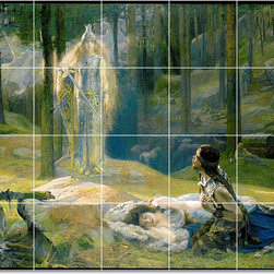 Picture-Tiles, LLC - Fantasy Tile Mural By Gaston Bussiere - * MURAL SIZE: 48x60 inch tile mural using (20) 12x12 ceramic tiles-satin finish.