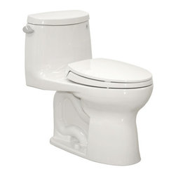 """Toto - Toto MS604114CEFG#01 Cotton Ultramax II Ultramax II One Piece - 1.28GPF One-Piece Elongated Toilet with SanaGloss and SoftClose Seat When it comes to Toto, being just the newest and most advanced product has never been nor needed to be the primary focus. Toto s ideas start with the people, and discovering what they need and want to help them in their daily lives. The days of things being pretty just for pretty s sake are over. When it comes to Toto you will get it all. A beautiful design, with high quality parts, inside and out, that will last longer than you ever expected. Toto is the worldwide leader in plumbing, and although they are known for their Toilets and unique washlets, Toto carries everything from sinks and faucets, to bathroom accessories and urinals with flushometers. So whether it be a replacement toilet seat, a new bath tub or a whole new, higher efficiency money saving toilet, Toto has what you need, at a reasonable price. The TOTO Ultramax II Toilet features the Double Cyclone flushing system. Using two powerful nozzles, the Double Cyclone(tm) flushing system creates a forceful centrifugal action that cleans the rim and bowl thoroughly with every flush. The rim has no holes, which makes it easier to clean and offers a seamless appearance. Features:  Sleek high profile one piece toilet WaterSense approved high efficiency (1.28 Gpf / 4.8 Lpf) toilet Universal height for maximum comfort: 16-1/8"""" rim height Double Cyclone flushing technology Powerful, quiet flush every time Super smooth SanaGloss glaze: ion barrier glazing cleans your toilet bowl with every flush ADA Compliant SoftClose seat included"""