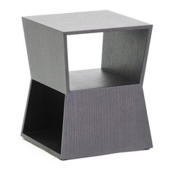 Wholesale Interiors - Marche Black Wood End Table - Shaped like a double trapezoid, the Marche Side Table looks great from all angles. This contemporary living room table has a shelf viewable from the front and another viewable only from the side. Its small size makes it ideal for placement next to a low, contemporary sofa or alongside an accent chair and is made of engineered wood with black wood veneer. To clean, wipe with a damp cloth. Made in China, fully assembled.