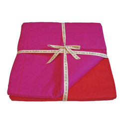 Reversible King Duvet, Red/Fuchsia