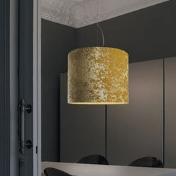 """Modiss - Modiss Belinda pendant light - The Belinda pendant light from Modiss has been designed by Alfonso Fontal in 2006. This suspension mounted luminaire is great for incandescent lighting. The Belinda is composed of a velvet shade with a satin aluminum structure. The shade comes available in three different velvet colors: White, black or lemon. The power/support cord for this fixture is made of transparent wire.  Product Details: The Belinda pendant light from Modiss has been designed by Alfonso Fontal in 2006. This suspension mounted luminaire is great for incandescent lighting. The Belinda is composed of a velvet shade with a satin aluminum structure. The shade comes available in three different velvet colors: White, black or lemon. The power/support cord for this fixture is made of transparent wire. Details:                                      Manufacturer:                                      Modiss                                                     Designer:                                     Alfonso Fontal                                                     Made in:                                     Spain                                                     Dimensions:                                      Height: 16.9"""" (43 cm) Diameter: 21.7"""" (55 cm)                                                     Light bulb:                                      1 X 150W incandescent                                                     Material:                                      Velvet, Aluminum, Wire"""