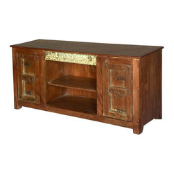 Sierra Living Concepts - Camelot Reclaimed Wood Handcrafted 2 Door Media Console - Storage space abounds behind Camelot Reclaimed Handcrafted Rustic 2 Old Doors on this handsome TV stand.