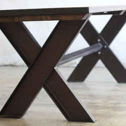 Welded Steel X Base Dining Table Wood Top - Wood and Welded X Base Steel Trestle Table. Fully customizable in length, width, height, color.