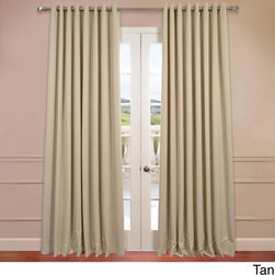 EFF - Extra Wide Thermal Blackout Grommet Top 96-inch Curtain Panel - You will instantly fall in love with these blackout curtains offered in a double-wide fit. Each panel is 100 inches wide,and the fabric is super soft with a refined texture made with a special polyester yarn.