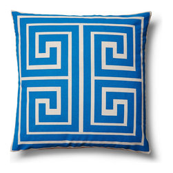 """5 Surry Lane - Modern Contemporary Greek Key Square Home Decor Accent Pillow, Blue - """"This vibrant, cheery pillow will breathe new life into any space.  The eye-catching Greek Key motif adds the perfect dose of pattern and color. 100% cotton canvas.  Down insert included.  Hidden zipper closure.  Hand wash in cold water.  Made in China."""