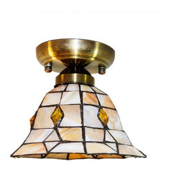 ParrotUncle - Iron Base Stained Glass Bell Shade Flush Mount - Iron Base Stained Glass Bell Shade Flush Mount